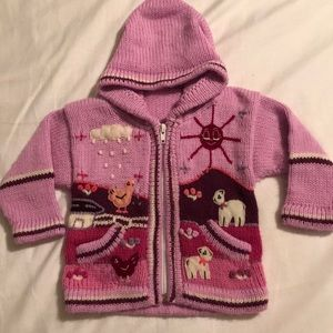 Other - Baby girls Handmade hooded knit zip sweater 6-12M